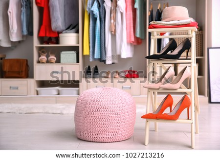 Pink Ottoman Chair Stand Shoes Dressing Stock Photo (Royalty Free ...