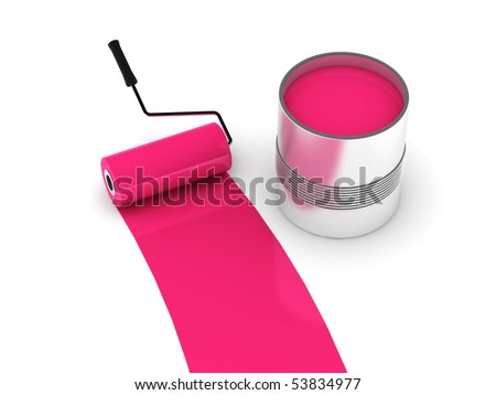 Pink paint. Roller and steel can isolated on white background. High quality 3d render. - stock photo