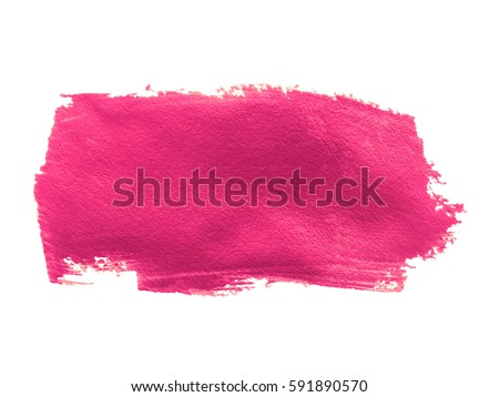 Pink paint smear stroke stain on white background