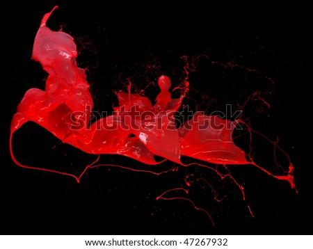 pink paint splash isolated on black background - stock photo