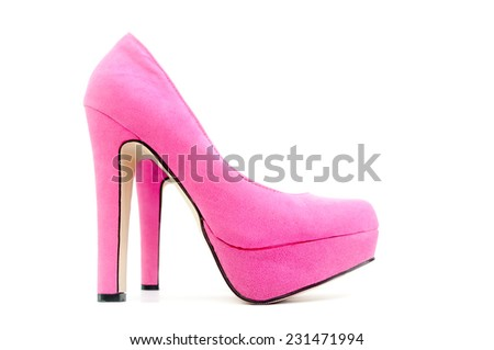 Pink pair of shoes isolated on a white background