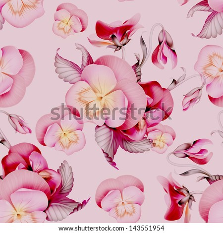 pink pansy flowers seamless pattern background - stock photo