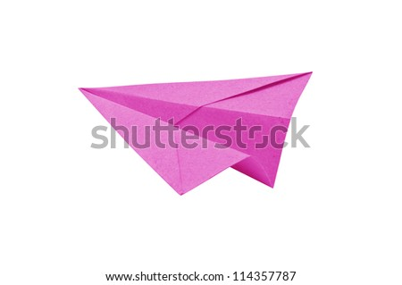 Pink Paper aircraft, Paper Plane on a white background,
