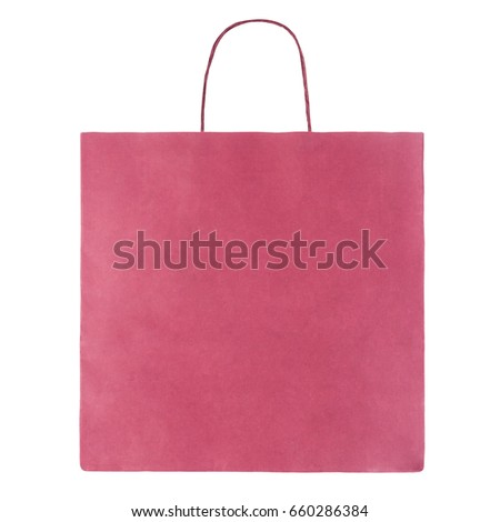 Pink paper bag isolated on white background