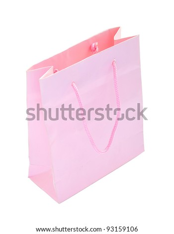Pink paper bag isolated with clipping paths - stock photo