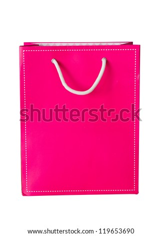 Pink paper bag on white isolate background with clipping path. - stock photo