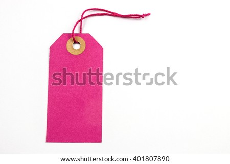 Pink Paper Tag Tied with String. - stock photo