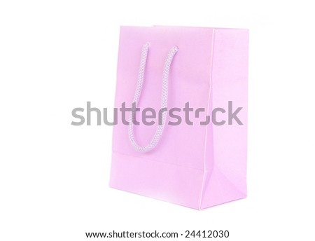 pink paperbag isolated on white