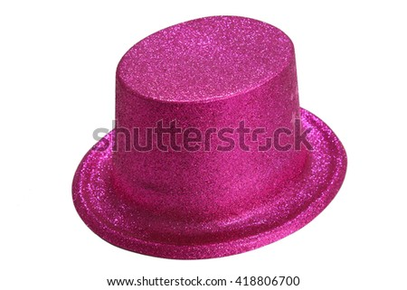 pink party hat isolated on the white background. - stock photo