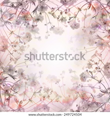 pink pastel  flowers background, floral border - stock photo