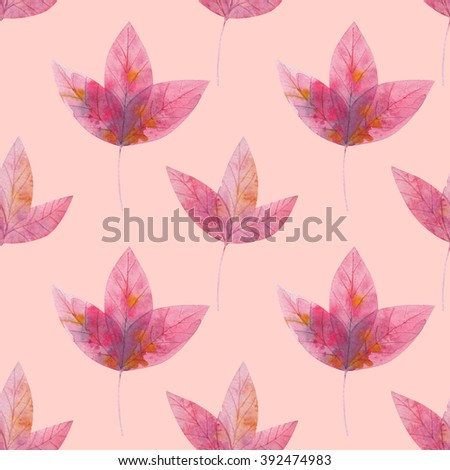 pink pattern from the leaves. floral cover of the book. watercolor leaf background