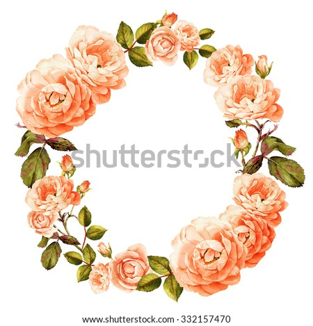 Pink-peach roses watercolor wreath - stock photo