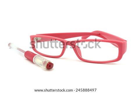 Pink pen and glasses in a pink frame