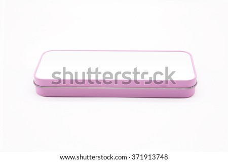 Pink pencil box on white background. - stock photo