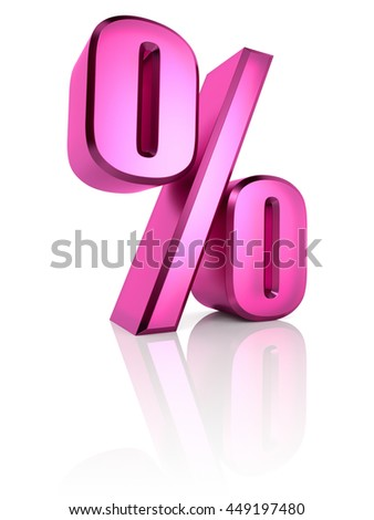Pink percent symbol isolated on white background. 3d rendering - stock photo