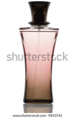 Pink perfume bottle with reflection on white background