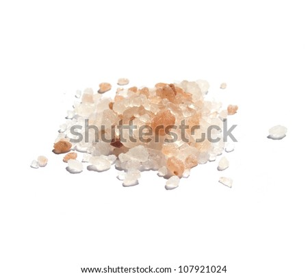 Pink Persian salt isolated on white - stock photo