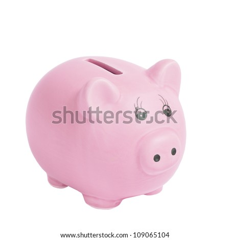 Pink pig money box isolated on a white background - stock photo