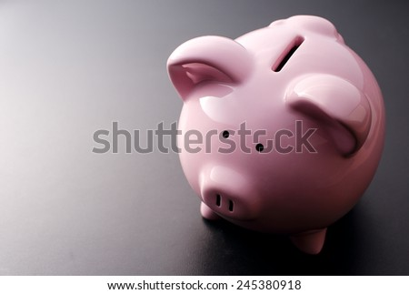 Pink Pig piggy bank close-up on a dark background - stock photo