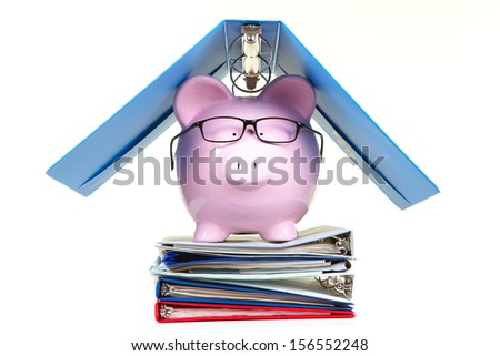 Pink piggy bank and documents on a white background