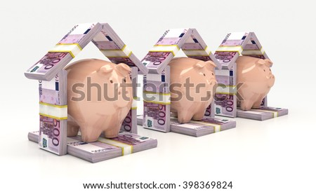 Pink piggy  bank and euro in the shape of a house. Investment concept.3D illustration - stock photo