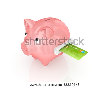 Pink piggy bank and green credit card.Isolated on white background.3d rendered.