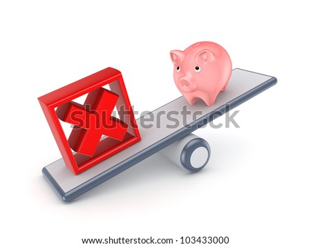 Pink piggy bank and red cross mark on a scales.Isolated on white background.3d rendered. - stock photo