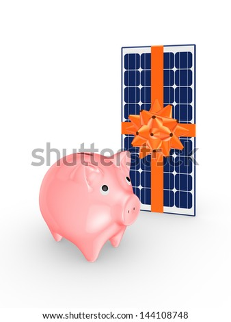 Pink piggy bank and solar battery.Isolated on white.3d rendered.
