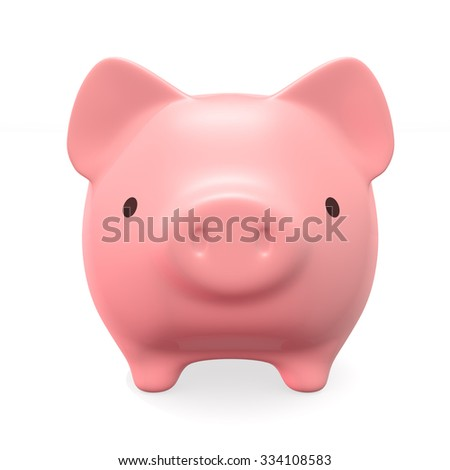 Pink piggy bank, front view. Isolated on white.