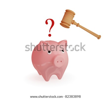 Pink piggy bank, hammer and question sign. 3d rendered. Isolated on white.
