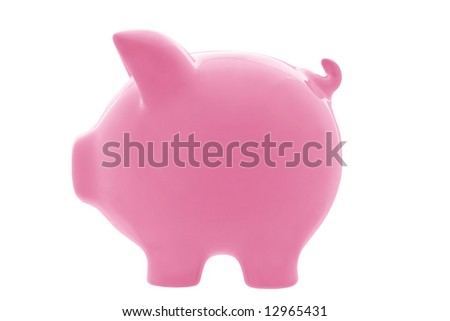 Pink piggy bank, in profile view, isolated on white.  Clipping path included.