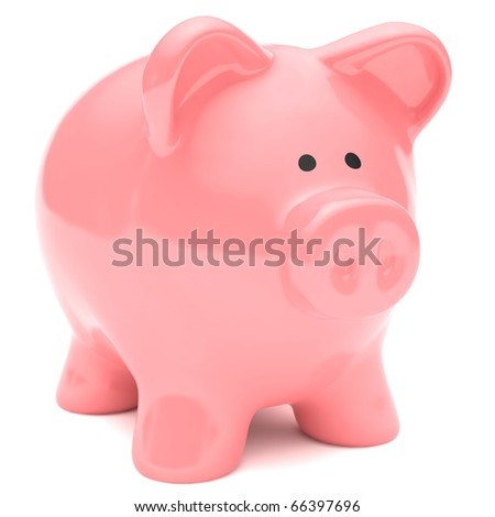 Pink piggy bank isolated against a white background. - stock photo