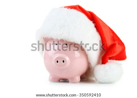 Pink piggy bank isolated on a white - stock photo