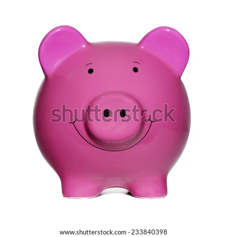 Pink Piggy Bank isolated on a white background - stock photo