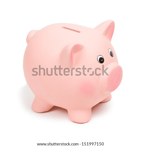 Pink piggy bank, isolated on white - stock photo