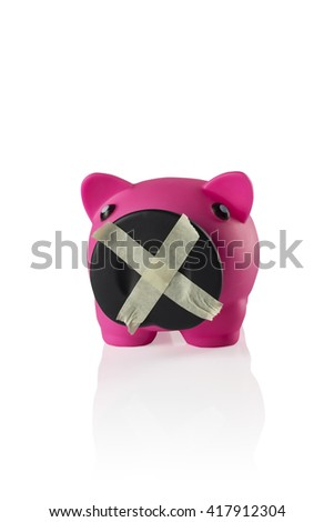 Pink piggy bank isolated on white - saving money concept - stock photo