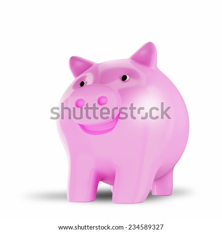 Pink piggy bank isolated over a white background