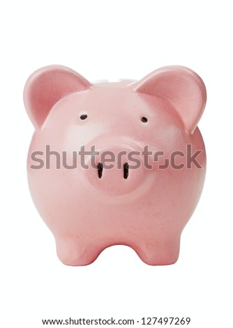 pink piggy bank isolated with clipping path