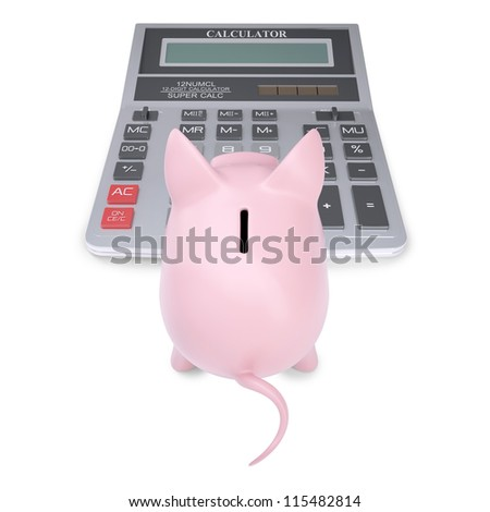 Pink piggy bank on a calculator. Isolated render on a white background - stock photo