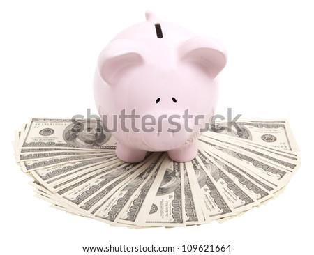 Pink piggy bank on dollars - stock photo