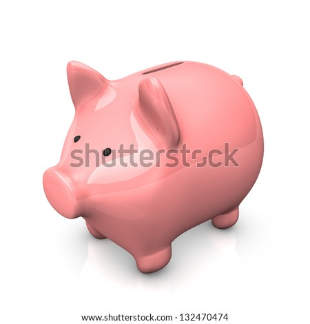 Pink piggy bank on the white background. - stock photo