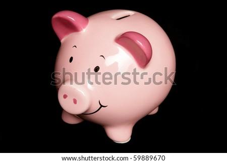 Pink Piggy bank studio portrait - stock photo