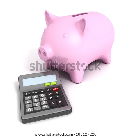 Pink piggy bank with calculatoron white background. Business financial calculation concept 3d render illustration - stock photo