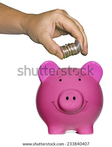 Pink Piggy Bank with hand and money