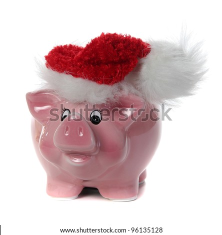 pink piggy bank with jelly bag cap - stock photo