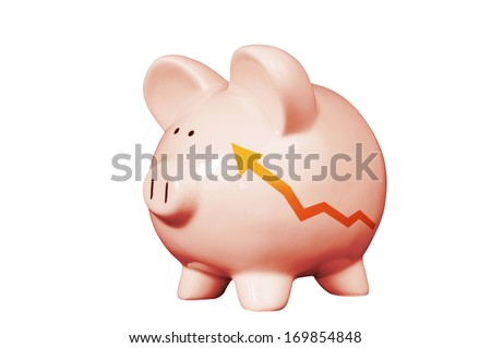 Pink piggy bank with  wealth growth graph isolated on on white - stock photo