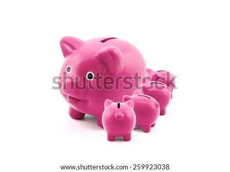 Pink piggy banks feeding from their mother - stock photo