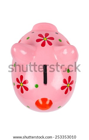 Pink Piggybank isolated on white. Above view on the bank. - stock photo