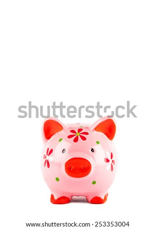 Pink Piggybank isolated on white. Front view on the piggy bank - stock photo