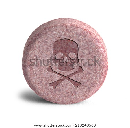 Pink Pill with Skull and Cross Bones Isolated on White Background. - stock photo